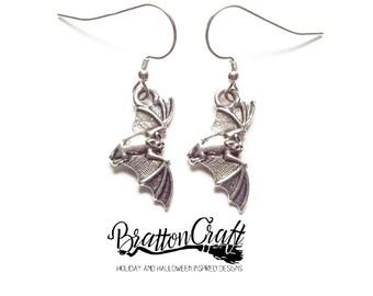 Flying Silver Bat Earrings - Halloween Earrings - Bat Earrings - Halloween Jewelry - Bat Jewelry - Vampire Bat