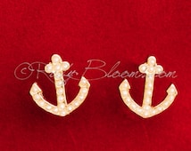 Pearl Gold Anchor Earrings. Beach Destination Wedding Accessory, Jewelry Pearl Earrings, Groom Accessory, Prom Bridesmaid Gift, Ruby Blooms