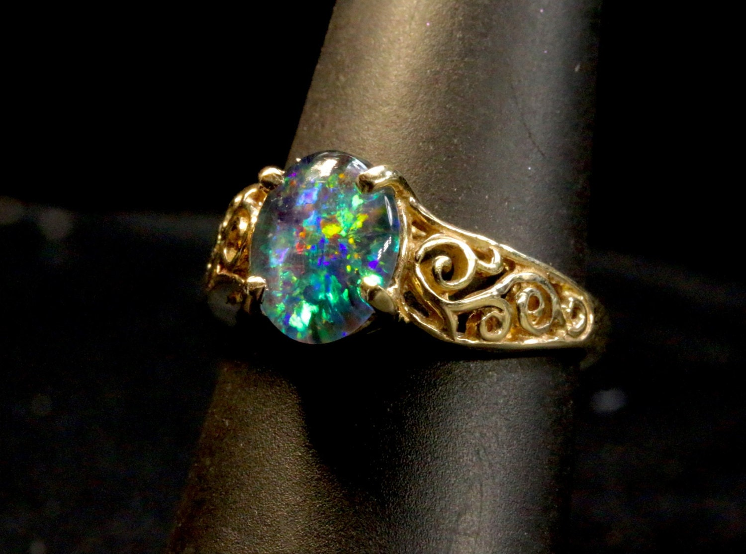 Engagement ring Genuine Australian Natural Opal ring