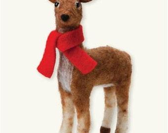 Handcrafted Felted Wool Christmas Deer