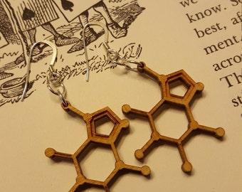 Laser Cut Caffeine Molecule Earring