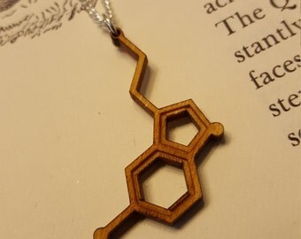 Laser Cut Serotonin Molecule Necklace - Chemistry Necklace - Nerdy Gift for Her