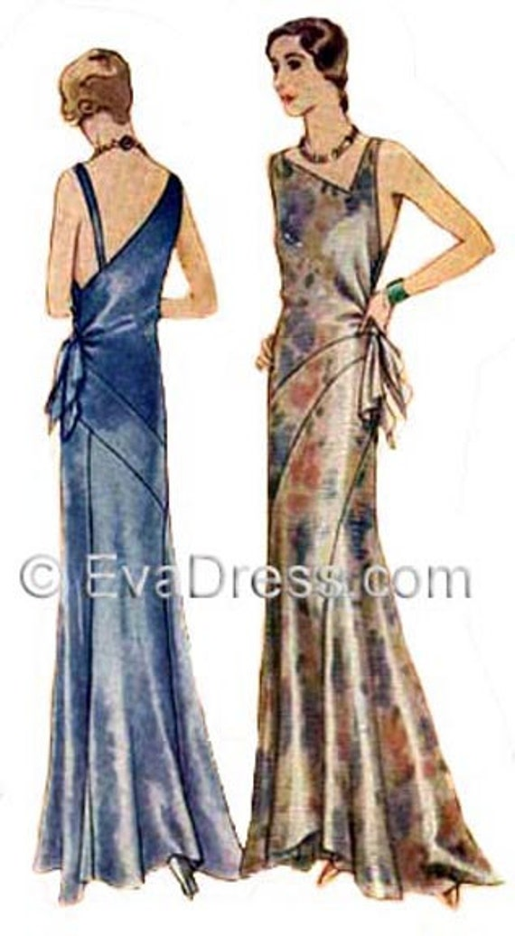 1930s Dresses, Clothing & Patterns Links 1930 Evening Gown Pattern by EvaDress Vionnet-esque! $35.00 AT vintagedancer.com