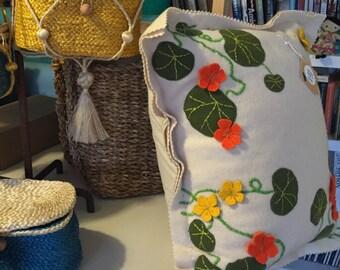 WOOL APPLIQUE KIT Bespoke Nasturtium Cushion kit in pure wool.
