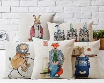 Lion reindeer fox wolf rabbit throw pillow case pillow cover