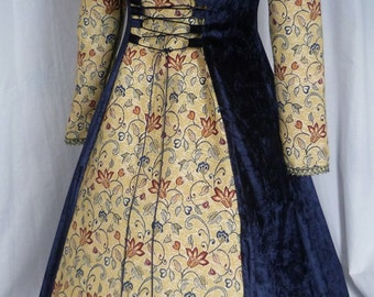 Navy blue Medieval dress pagan gown goth costume made to size, Fantasy dress Handfasting Renaissance wedding Made to measure