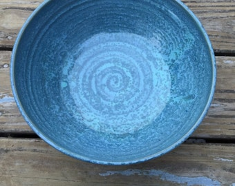 Wheel thrown pottery serving and salad bowl