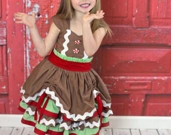 Girls Gingerbread Dress - Girls Christmas Dress - Girls Holiday Dress - Gingerbread Dress - Girls Brown Dress - Gingerbread dress for girls
