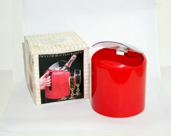 Vintage 1980's Champagne bucket / Bottle Cooler designed by Jean Pierre Vitrac for Snips - Red with Original Box