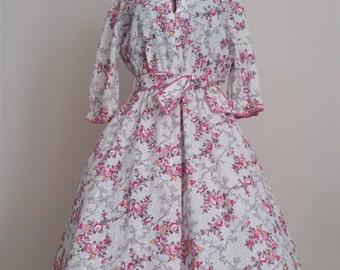 Vintage Floral Eyelet Party Dress - 1960's Day Dress by Shannon Rodgers for Jerry Silverman - Wing Collar - Size Large
