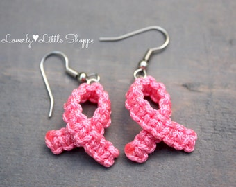 Breast Cancer Awareness Ribbon Earrings - Breast Cancer - Pink Ribbon - Survivor - Micro Paracord - Handmade