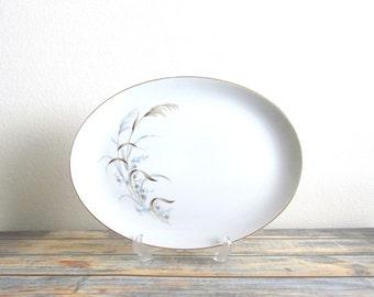 "China Pattern | Vintage Wedding China Sets | Mid Century Modern | Large 16"" Oval Serving Platter | Narumi Japan Laura | Blue Floral"