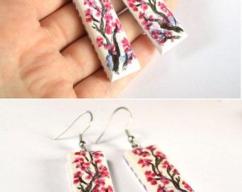 Earrings Sakura painting on wood Handmade Dangling ethnic earings wedding folk jewelry Gift idea for her Pink and White bright Japan earings