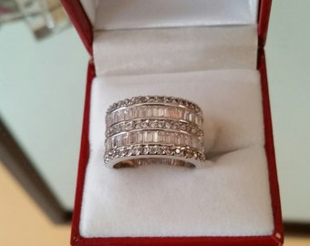 Size 8 * Rhodium Sterling  Silver                           Plated Metal ,Zirconia