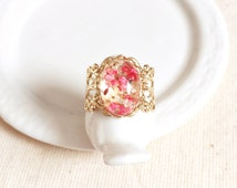 Real Flower Ring, Gold Filigree Victorian Thick Band Ring Pressed Small Rose Pink White Flower Resin Preserved Nature Botanical Jewelry Gift