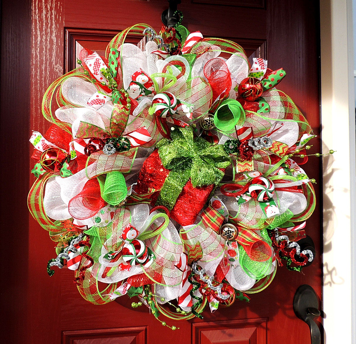 Deco Mesh Christmas Tree Wreath: Lighted Christmas Deco Mesh Wreath Deco Mesh Christmas Wreath