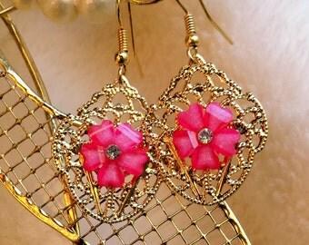 Pink Flower Gold Lace Earrings