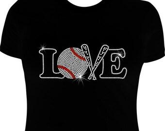 Baseball T shirt, Rhinestone,  Baseball shirt, Baseball Iron on transfer/applique