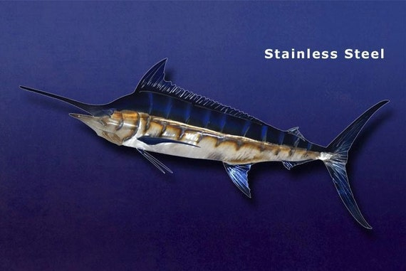 Blue Marlin Metal Art Wall Sculpture in Stainless or Carbon Steel