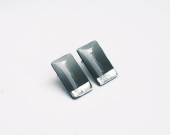 Silver Foil Black Studs, Rectangle Ombre Studs, Nickel Free Modern Jewelry, Gradient Black Earrings, Modern Hypoallergenic Posts, Titanium