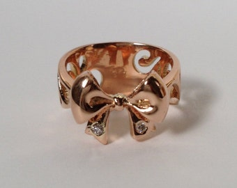 14k Rose Gold Bow Ring with Diamond - Hand Engraved
