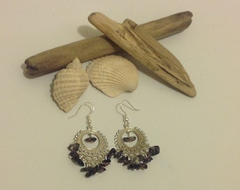 Boho Hippie Black Silver Gemstone Chip Chandelier Dangly Earrings