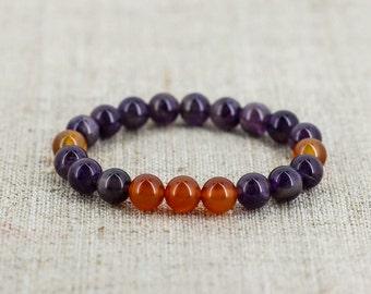 Amethyst bracelet Carnelian bracelet Healing crystals stones jewelry Energy bracelet Protection amulet Women birthday gift for men jewelry