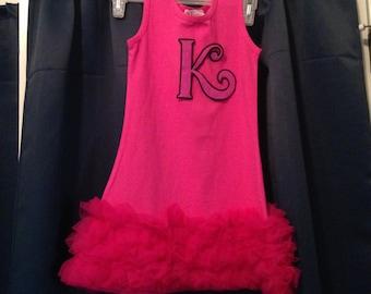 Little Girls Dress w/Pink ruffles    Custom Embroidery    Pink Dress  ruffled dress    birthday dress    Back to School