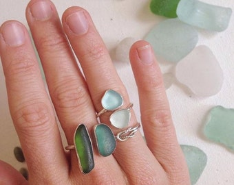 Custom Sea Glass Ring - Double SIDE BY SIDE Sea Glass Ring on Silver Band - Custom Made to Order