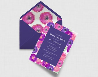 "Pink and Purple Blooms 5"" x 7"" Bridal Shower Invitation - Digital or Printed"
