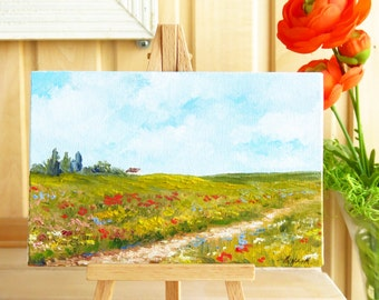 Small landscape Framed oil painting Country cottage Summer decor Nature art Small wall art Original impressionist oil painting Ready to hang