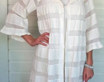Vintage Jacket Lila Bath Designer White Lace Pintucked 1960s