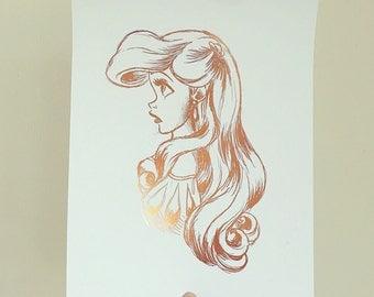 Little Mermaid Print - Little Mermaid Foil Print - Nursery Art - Disney Quote - Copper Home Decor