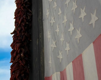 American Flag Wall Art, Peppers and Patriotism, American Vintage Flag, Chili Pepper Rista, Red, White and Blue, Flag Photography