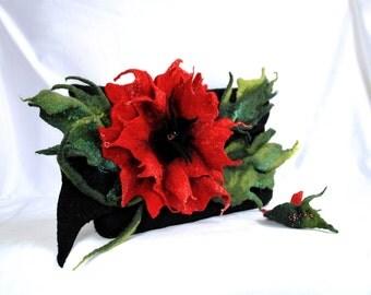 Black clutch with a red flower / Felt bag / Wool felted bag / Purses