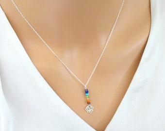Petite Chakra necklace, Lotus Necklace, Gemstone Yoga Necklace