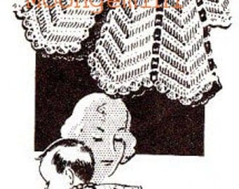 Crochet Baby Sacque Infant Pattern in the Popular Ripple Stitch PDF Instant Download