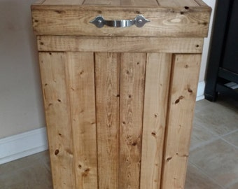 Wood Garbage Can, 30 Gallon Trash Can, Wood Trash Bin, Recycling Bin, 13 Gallon Trash Can, Rustic, Kitchen, Wood Laundry Basket, Hamper