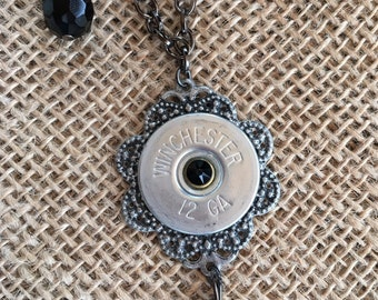 Shotgun Shell Necklace with Black Faceted Glass Beads and Swarovski Crystals, Womens jewelry, Upcycle bullets, Gifts for her
