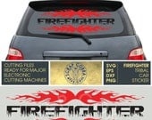 Firefighter Tribal Typography - Car Sticker - Digital Vector cut files - SVG, eps, DXF, PNG - decal, transfers, silhouette cutting cv-494