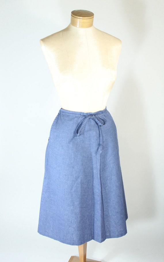 vintage denim chambray skirt wrap skirt a line by relikit