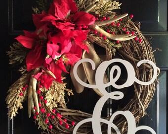 Holiday Wreath / Christmas Wreath / Christmas Grapevine Wreath / Christmas Poinsettia Wreath / Rustic Holiday Wreath / Rustic Wreath