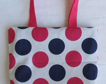 Fabric Gift Bag/ Small Tote/ Hostess Gift Bag- Blue and Pink Polka Dots