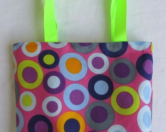 Fabric Gift Bag/ Small Tote/ Hostess Gift Bag- Fun Polka Dots in Fuchsia