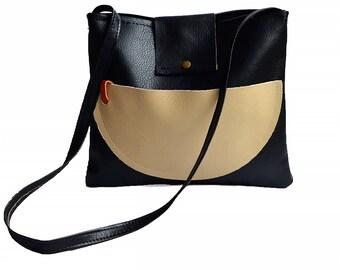 Black leather bag, Leather cross body bag, Handbag, messenger bag, Hobo bag, Leather Shoulder bag, Cross body purse, tan leather bag.