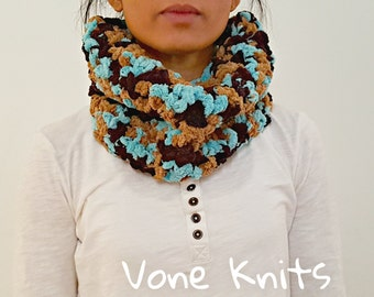 Super Chunky Cowl, Crochet Cowl, Knit Cowl, Chunky Knit, Loop Scarf, Cowl Scarf, Crochet Neckwarmer, Fashion Scarves, Turquoise And Brown