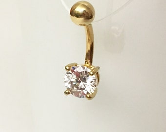 Gold Crystal Prong Set Navel Piercing 14 Gauge (BPC-36), Belly Ring, Curved Barbell, 316L Surgical Steel, Gold Belly Ring