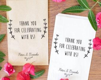 Custom Wedding Candy Bags, Custom Kraft Favor Bags, Personalized Treat Bags BWE-92