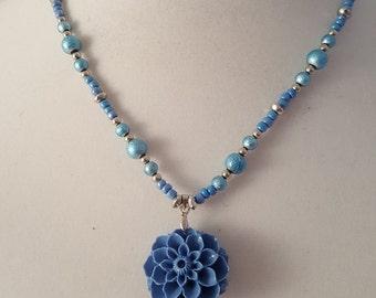 Pale Blue Acrylic Flower Necklace - Pale Blue Necklace - Pale Blue Earrings - Pale Blue Jewelry Set - Women's Pale Blue Jewelry Set -Jewelry
