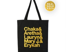 Gold Foil Soul Singers Tote - Lauryn Hill, Chaka, Aretha Franklin, Mary J Blige - R&B Singers